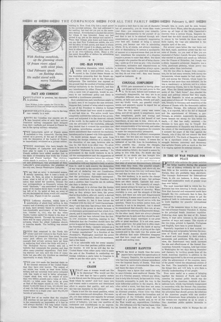 <em>The Youth's Companion</em> - February 1, 1917 - Page 62