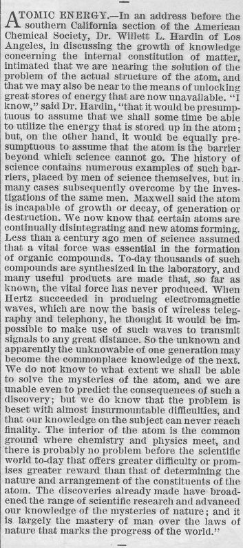 """Atomic Energy"" <em>Youth's Companion</em> March 1, 1917, p. 127."